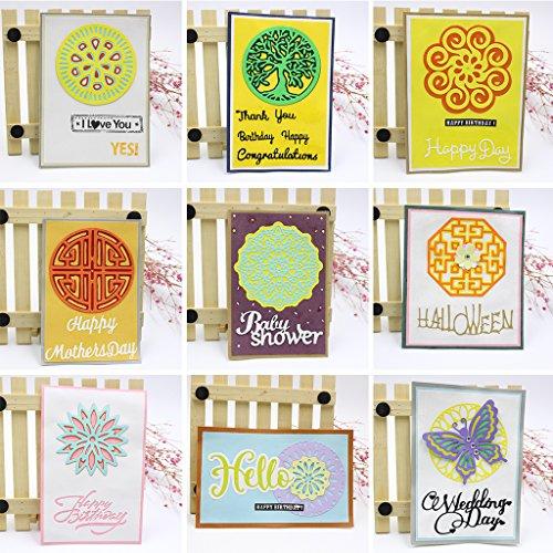Dabixx fustelle in metallo, albero scrapbook album per scrapbooking stencil, punch biglietti Crafts 9cmx9cm/3.54inx3.54in, Acciaio al carbonio, Butterfly, 9.2cmx7.4cm/3.62inx2.91in - 1