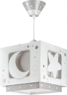 Dalber - Lampada da soffitto, a sospensione quadrata, motivo: luna,Colore Grigio - 1