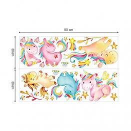 decalmile Colorato Unicorno Adesivi da Parete Cameretta Bimba Adesivi Murali Camerette Bambini Decorazione - 1