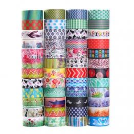 Decorativo Washi tape 48rotoli di nastro adesivo, larghezza 15mm per fai da te scrapbooking ufficio party supplies regalo - 1