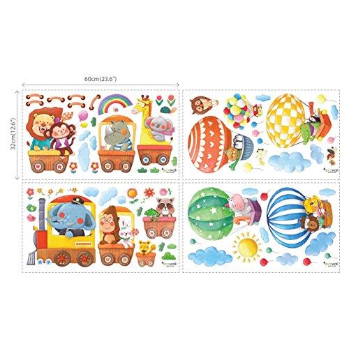 DECOWALL DA-1406 Treno con Animali e Mongolfiere Adesivi da Parete Decorazioni Parete Stickers Murali Soggiorno Asilo Nido Camera da Letto per Bambini - 1
