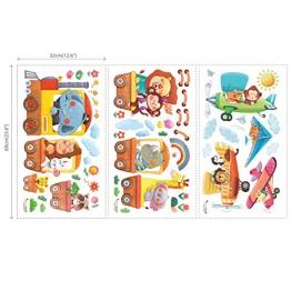 Decowall DAT-1406A1506B Treno con Animali e Biplani Adesivi da Parete Decorazioni Parete Stickers Murali Soggiorno Asilo Nido Camera da Letto per Bambini - 1