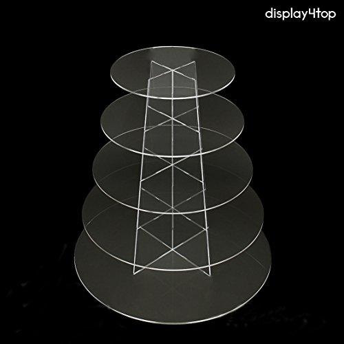 Display4top, alzata da esposizione in acrilico per cupcake, per matrimonio o festa di compleanno, Acrilico, new 5 Tier Round - 1
