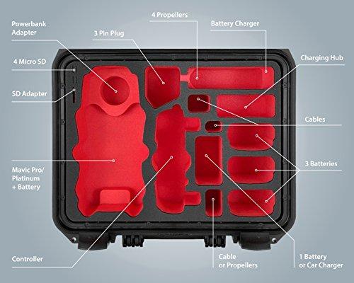 """DJI Mavic Pro e Platinum """"Travel Edition"""" Valigetta Valigia professionale da Outdoor IP67 – con spazio 5 Battery per tanti accessori - 1"""