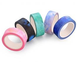 DSstyles 10M adesivo creativo riposizionabili Scrapbooking Stripes Craft Dots Fai da te giapponese nastri per mascheratura decorativo Sticky Washi Tape Collection Set - 5 Pz - 1