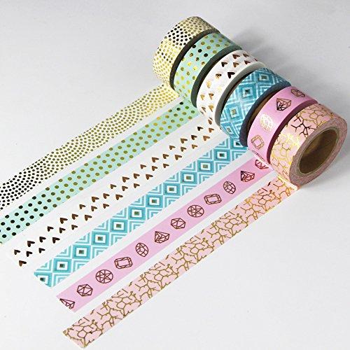 EDGEAM 6Pcs Multi-color Washi Tape Set Motivi Dorati Decorativi Nastro Adesivo di Carta Fai Da Te Scrapbooking, ogni rotolo 15 x 10m (Stil-G1) - 1