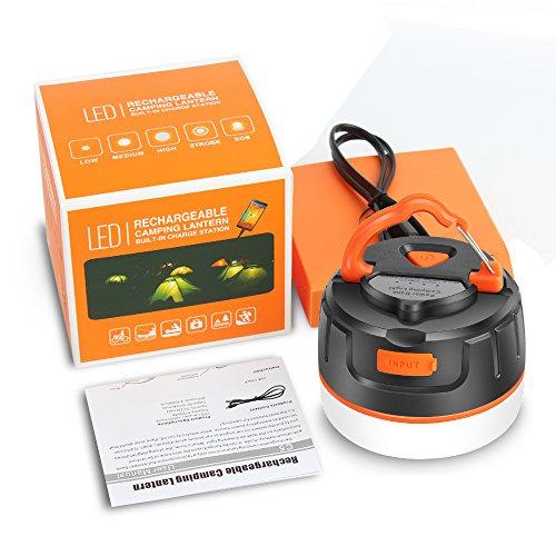 ELEPOWSTAR Lampada da campeggio a LED, Lanterna da campeggio IP65 Impermeabile luce da campeggio, USB ricaricabile, 5 modalità di illuminazione, Banca di alimentazione magnetica (5200 mAh) - 1
