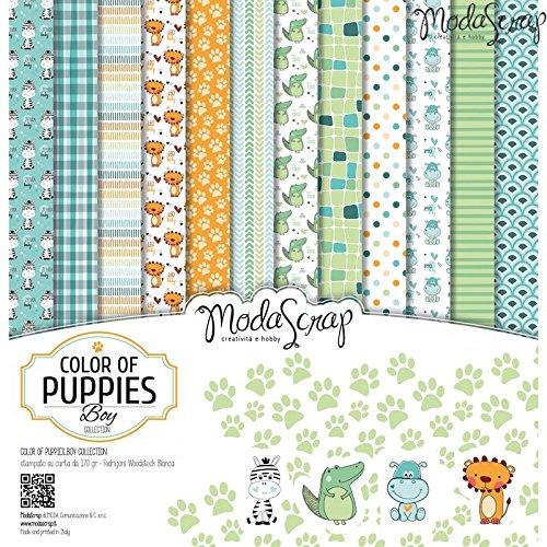 Elizabeth Craft Designs, confezione di fogli di carta Colour of Puppies Boy,, 30,5 x 30,5cm - 1