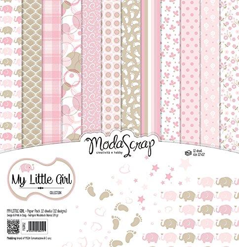 "Elizabeth Craft Modascrap Paper Pack 12""X12"" 12/Pkg-My Little Girl - 1"