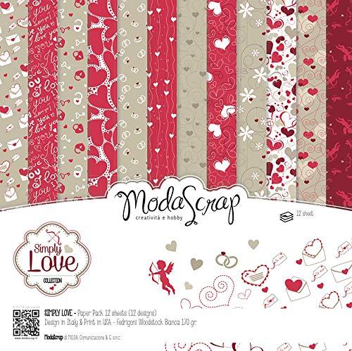 """Elizabeth Craft Modascrap Paper Pack 12""""X12"""" 12/Pkg-Simply Love - 1"""