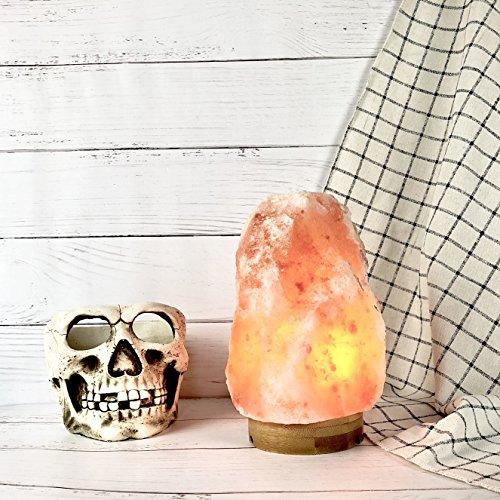 Elore (2-3 kg)Lampada di Sale dell'Himalay Himalayano con Base di bambù Legno, Lampada di Sale Himalaya con Accensione Touch, 2-3kg, 3 Lampadine, 2 pezzi porta candele di sale , Pacco Regalo - 1