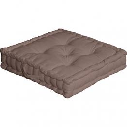 Enjoy Home 2007VSCS050050 - Cuscino da Pavimento, con Maniglia in Cotone, Visone, Dimensioni: 50 x 50 cm - 1