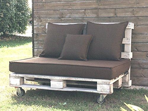 EXTROITALY BAVARO Easy Fiore Marrone Cuscino per Pallet Seduta 82x122 h.11 cm + 2 Cuscini Schienale 60x60 cm. + 1 Cuscino Schienale 45x45 cm. Lavabile SFODERABILE - 1