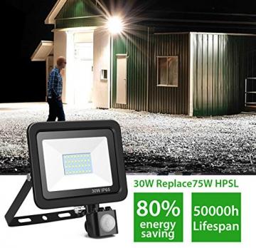 Faretto LED Con Sensore Di Movimento 30W, Minger Proiettore LED Esterno Impermeabile IP65 2400LM 6000K Faro LED Esterni per Giardino, Corridoio, Terrazza, Patio, ecc. - 4