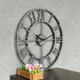 Forweilai Orologio Rotondo 50cm Numeri Romani 3D Vintage Orologio da Parete Silenzioso in metallo per Casa Salotto Decorazione - (Argento) - 1