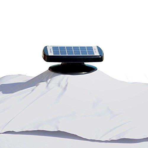 Fp-Tech FP-JD4012L Ombrellone da Giardino, Decentrato con Pannello Solare e 24 LED Gia Montati, Beige, 3 x 3 m - 1