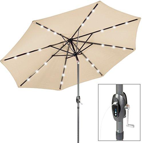 Fp-Tech FP-JD4013LU Ombrellone da Giardino con Pannello Solare, 24 LED e USB Incorporati, Beige, 2.7 m - 1
