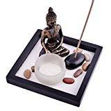 Giardino Zen con Buddha, sabbia, rocce, candela, portaincenso, per Feng Shui, con braccialetto di corda Mxsabrina W, colore: rosso, SKU: T1020 - 1