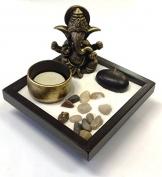 Giardino Zen con Ganesha, sabbia, rocce, candela, portaincenso, per Feng Shui BASE QUADRATA - 1