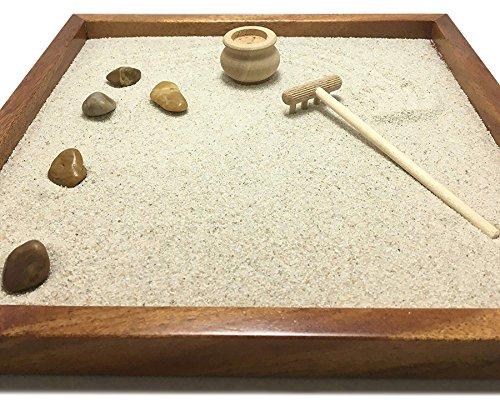GIARDINO ZEN DA TAVOLO 25x25 2cm di legno massello MOGANO lavorato artigianalmente fatto a mano - Prodotto di Qualita' - 1