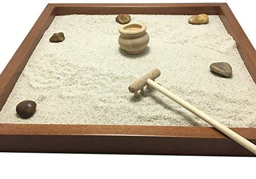 GIARDINO ZEN DA TAVOLO 25x25 2cm di legno massello NOCE lavorato artigianalmente fatto a mano - Prodotto di Qualita' - 1