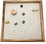 GIARDINO ZEN DA TAVOLO 25x25 2cm di legno massello ZEBRANO striato lavorato artigianalmente fatto a mano - Prodotto di Qualita' - 1