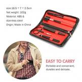 GiBot Pinzette Sopracciglia, 5pcs Kit per la cura del sopracciglio in acciaio inox con pinzette, Forbici per sopracciglia, pettine, matita, rasoi e custodia da viaggio per donne e uomini, nero - 1