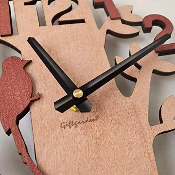 Giftgarden Orologio da Parete in Legno con Albero e Uccello Decor per Casa - 3