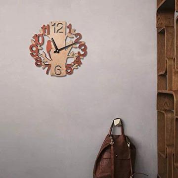 Giftgarden Orologio da Parete in Legno con Albero e Uccello Decor per Casa - 6