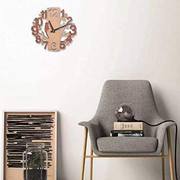 Giftgarden Orologio da Parete in Legno con Albero e Uccello Decor per Casa - 7