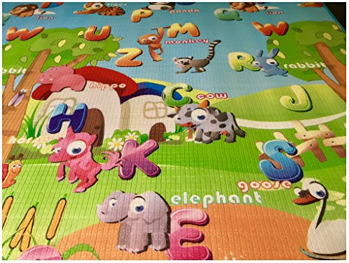 GLOBOLANDIA SRL 92714 Tappeto Bambini ultra morbino, 200x180x1 cm, Doppia faccia (Lettere/Numeri) - 1