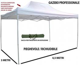 GrecoShop Magnum  4358 - Gazebo pieghevole impermeabile in alluminio 3x4,5m  per giardino, Mercanti, Fiere, Bianco - 1