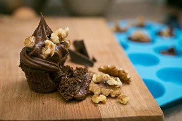 HelpCuisine® Teglia Muffin/Stampo Antiaderente per 12 Muffin/Teglia per Cupcake/dolcetti Realizzata in Silicone Alimentare di Alta qualità, Antiaderente e Privo di BPA, 12 stampini, Colore Blu - 7
