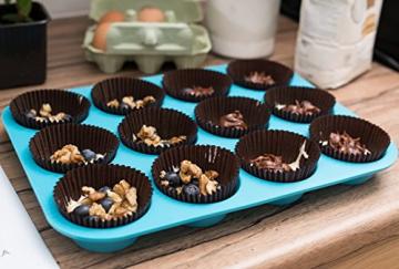 HelpCuisine® Teglia Muffin/Stampo Antiaderente per 12 Muffin/Teglia per Cupcake/dolcetti Realizzata in Silicone Alimentare di Alta qualità, Antiaderente e Privo di BPA, 12 stampini, Colore Blu - 2