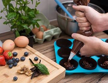 HelpCuisine® Teglia Muffin/Stampo Antiaderente per 12 Muffin/Teglia per Cupcake/dolcetti Realizzata in Silicone Alimentare di Alta qualità, Antiaderente e Privo di BPA, 12 stampini, Colore Blu - 3