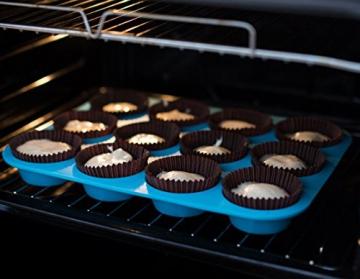 HelpCuisine® Teglia Muffin/Stampo Antiaderente per 12 Muffin/Teglia per Cupcake/dolcetti Realizzata in Silicone Alimentare di Alta qualità, Antiaderente e Privo di BPA, 12 stampini, Colore Blu - 5