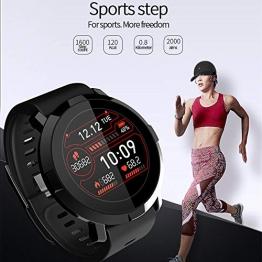 HUAXING Orologio Intelligente, Touch Screen Orologio da Polso Bluetooth/pedometro analisi/Sleep monitoraggio/Heart Rate Monitor Tracker/monitoraggio della Pressione arteriosa per Android e iOS,Black - 1