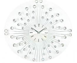 Ideal Time Orologio da Parete Orologi a Muro Design Moderno in Metallo con Swarovski Trasparenti in Vetro Effetto Specchio Forma Fiore Alimentazione 1 Batteria AA - 1
