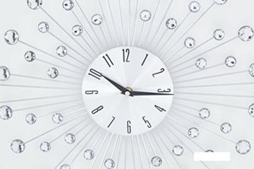 Ideal Time Orologio da Parete Orologi a Muro Design Moderno in Metallo con Swarovski Trasparenti in Vetro Effetto Specchio Forma Fiore Alimentazione 1 Batteria AA - 2