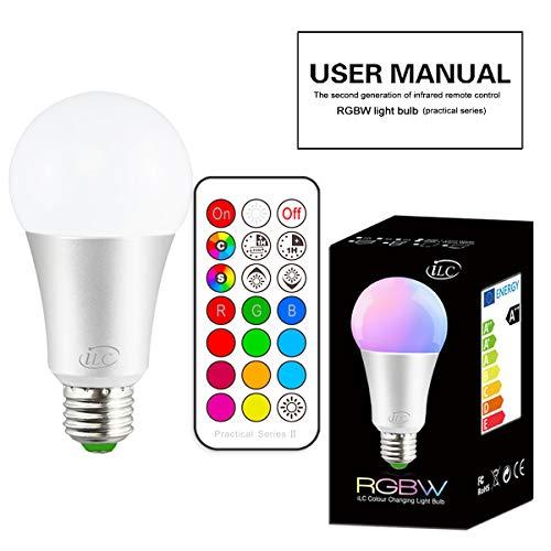 iLC 10W Lampadine Colorate Led Cambiare colore Lampadina Edison RGB E27 RGBW LED Lampadine Led a Colori Dimmerabile - 12 scelte di colore - Telecomando Incluso - 1