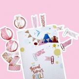 InnoBeta Washi Tape Rosa, Nastri Decorativi, Nastro Adesivo Colorato, Nastro Adesivo Decorative, Bullet Journal, Scrapbooking, Carta Decorativa Fai da Te Riutilizzabile Nastro,Set di 10 - 1