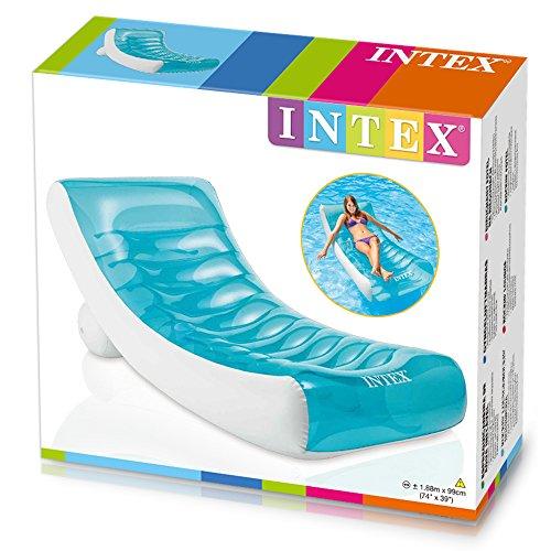 Intex 188X99 Poltrona Lounge Galleggiante, Colore Trasparente, portabicchieri, 188x99 cm, 58856 - 1