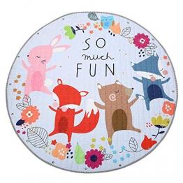 Jeteven Tappeti Bambini Cotone 150cm Portatile Sacco del Giocattolo Tappeto Gioco Tappeto per Il Fitness Bambini Che Strisciano (Fox) - 1