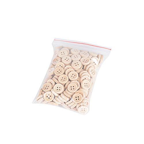 JNCH 200pz Bottoni Legno Naturale Decorativi Decorazione Cucito Scrapbooking Fai da Te con 4 Fori (200pz 13mm) - 1