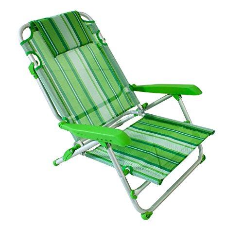 Joy Summer Spiaggina Alluminio Sedia Mare Spiaggia con 4 posizioni (Verde) - 1