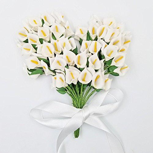 JZK 144 Piccolo bouquet calla finta bianco fiore finti fiorellini bomboniera decorazione scatola confetti regalo matrimonio compleanno battesimo Natale - 1