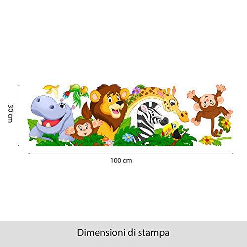 kina R00500 Adesivo murale per Bambini - Animaletti sul Lettino - Misure 100x30 cm - Decorazione Parete, Adesivi per Muro, Carta da Parati - 1