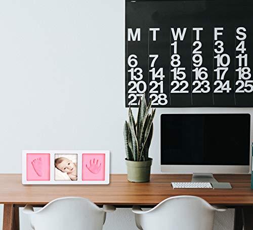 Kit Cornice con Impronte Bambini Rosa o Blu, Mani e Piedi Neonato Idee Regalo Originale per Mamme o Nascita Bebè Bimba e Bimbo Portafoto bebè Prima Infanzia per Battesimo Festa di Compleanno - 1