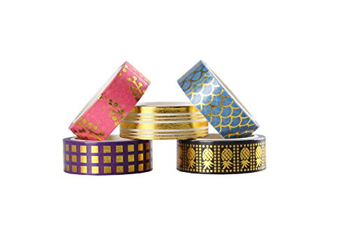Lamina d' oro decorativo Washi tape set di 21 rotoli, 15 mm di larghezza nastro adesivo Collection per DIY Crafts Wrapping by Ieebee - 1