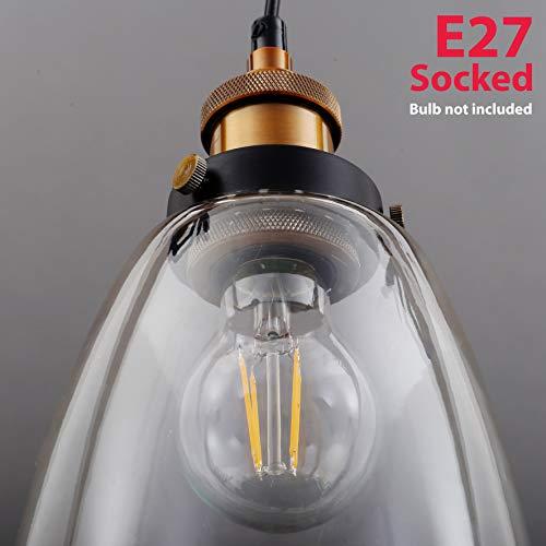 Lampada a sospensione vintage in metallo e vetro, lampada da soffitto moderna per soggiorno o cucina, lampadario stile industriale, plafoniera con attacco per lampadina E27 (non inclusa), IP20 - 1